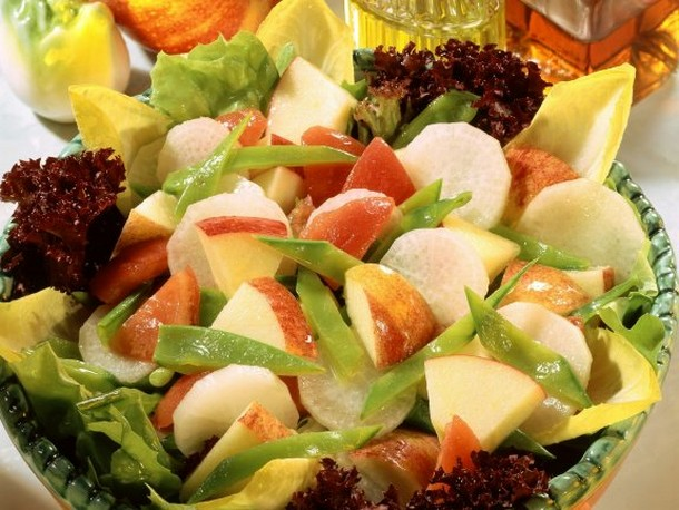 Apple and Radish Salad with Snow Peas Recipe
