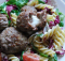 Mozzarella-Filled Meatballs with Pasta Salad Recipe