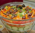 Greek Salad Recipe : Chop Scallions for Greek Salad a Layered Greek Salad